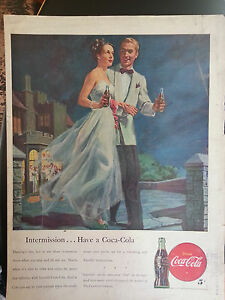 1947 Coca Cola Dress Tuxedo Dance Intermission Romantic Original Print Ad