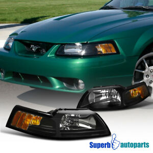 1999 2004 New Edge Ford Mustang Replacement Headlights Lamps Black Left right