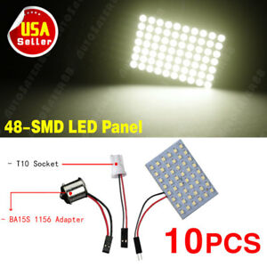 10x Warm White 48 Smd Panel Led Interior Light Bulbs T10 1156 Ba15s Adapters