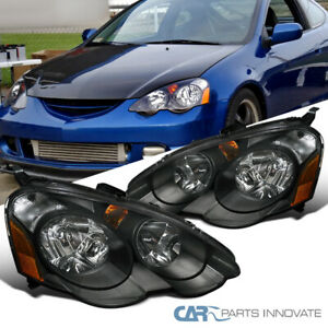 For 02 04 Acura Rsx Dc5 Replacement Black Clear Head Lights Driving Lamps Pair