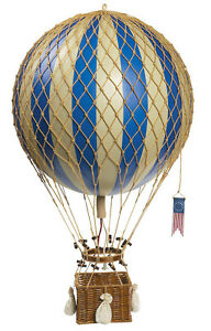 Blue White Striped Hot Air Balloon Model 13 Hanging Aviation Ceiling Decor