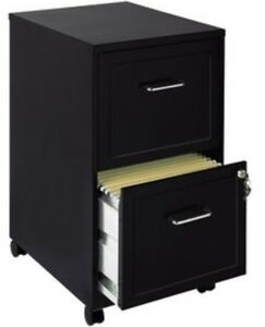 2 Drawer Mobile File Cabinet Black Filing Cabinets Home Office Furniture Metal