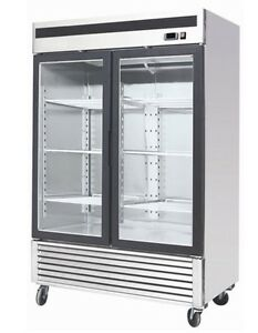 Chefsfirst Glass 2 Door Upright Reach in Commercial Refrigerator