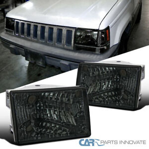 For 93 98 Jeep Grand Cherokee Smoke Lens Headlights Head Lamps Pair Left right