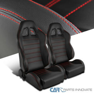 Pair Jdm T r Black Pvc Red Stitch Driver passenger Side Racing Seats Reclinable