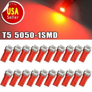 20x T5 1smd Red Dash Gauge Cluster Side Led Bulb Light 73 74 70 37 17 18 12v Us