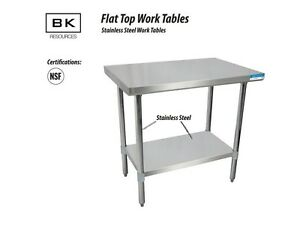 Bk Resources T 430 S s Flat Work Table W S s Leg Undershelf Nsf Svt 1824