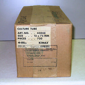 Case Of 720 Culture Tubes Without Lip 12 X 75mm Kimax kimble 45048 Nos