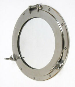 Large Ships Porthole Mirror 17 Aluminum Chrome Finish Round Nautical Wall Decor