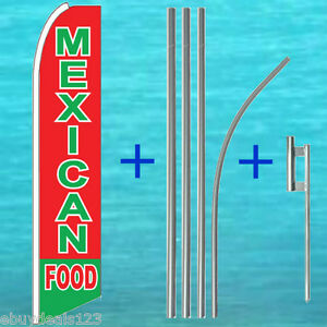Mexican Food Flutter Feather Flag 15 Tall Pole Mount Swooper Bow Banner Sign