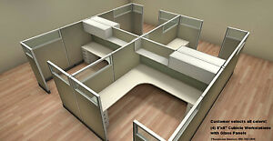 Set Of 4 Office Cubicles Systems Workstations With Glass Panels Free Shipping