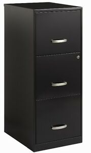 3 Drawer File Cabinet Black Filing Cabinets Home Office Furniture Metal Locks 18