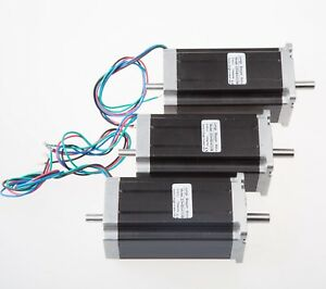 3pcs Nema 23 Dual Shaft Stepper Motor 425 Oz in 3a 4 Leads Cnc Free Ship Us