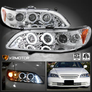 For 1998 2002 Honda Accord Replacement Clear Led Halo Projector Headlights Pair