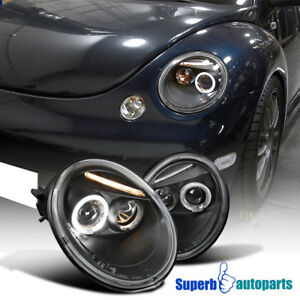 For 1998 2005 Vw Beetle Halo Projector Headlights Black Specd Tuning