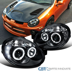 Dodge 03 05 Neon Srt4 Srt 4 Replacement Halo Led Projector Headlights Black Pair