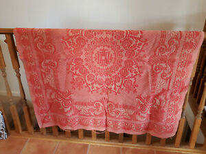 Antique Red Tan Throw Blanket American Coverlet Wool Stitched Woven