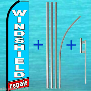 Windshield Repair Flutter Feather Flag 15 Pole Mount Swooper Bow Banner Sign