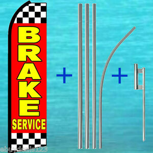 Brake Service Feather Flutter Flag 15 Tall Pole mount Swooper Bow Banner Sign