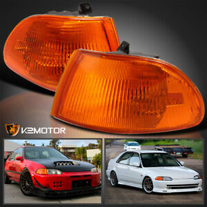 For 1992 1995 Honda Civic 4dr Sedan Amber Corner Signal Lights Lamps Left Right