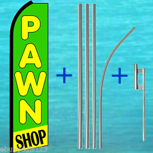 Pawn Shop Flutter Feather Flag 15 Tall Pole Mount Swooper Banner Sign Kit