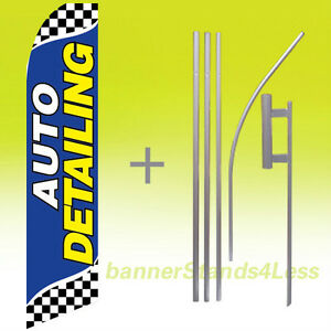 Auto Detailing Swooper Flag Kit Feather Flutter Banner Sign 15 Checkered Bb