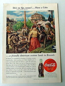 1945 COCA COLA AD ARMY MILITARY SOLDIERS DRINKING COKE IN BRUSSELS BELGIUM