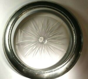 Vintage B 1 Sterling Silver Rimmed Bottle Coaster Ashtray 5 Diameter
