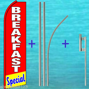 Breakfast Special Flutter Feather Flag Premium Pole Kit Swooper Banner Sign