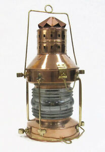 Xl 20 Ships Anchor Lantern Oil Lamp Copper Brass Fresnel Lens