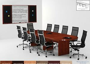 16 Foot Conference Room Table And 14 Chairs Set 6 Colors Black Brown White Chair