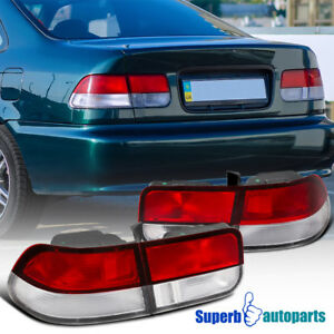 For 1996 2000 Honda Civic 2dr Coupe Jdm Tail Lights Brake Lamps Red clear
