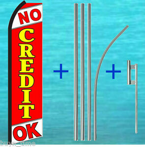 No Credit Ok Flutter Feather Flag 15 Tall Pole Mount Kit Swooper Bow Banner