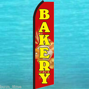 Bakery Red Flutter Feather Flag Swooper Tall Vertical Advertising Sign Banner
