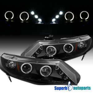 For 2006 2011 Civic 4d Led Dual Halo Projector Headlight Black Specd Tuning