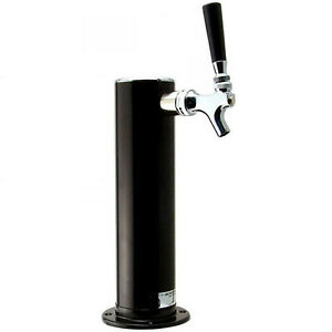 Single Tap Draft Beer 3 Tower Black Powder Coat Bar Pub Kegerator Keg Faucet