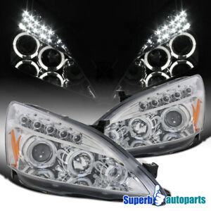 For 2003 2007 Honda Accord 2dr 4dr Halo Led Projector Headlights Head Lamps Pair