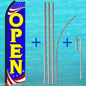Open Patriotic Flutter Feather Flag 15 Tall Pole Mount Kit Swooper Banner Sign