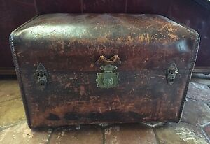Antique Hartmann 1886 First Lady Cleveland S Honeymoon Leather Immigrants Trunk