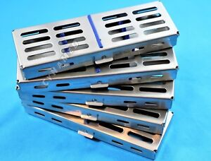 5 Dental Surgical Instruments Sterilization Cassettes Box Tray 7 X 2 5 x 0 75