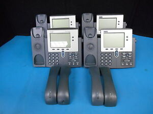 Lot Of 4 Cisco Systems 7940 Series Model Cp 7940g Ip Business Phone W Headsets