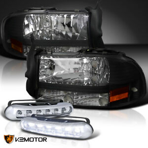 97 04 Dodge Dakota durango Black 1pc Headlights daytime Running Fog Lamps