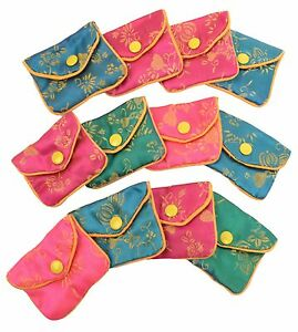 Silk Jewelry Chinese Pouch Bag Roll Assorted Ten Dozen 2 1 2 X 2