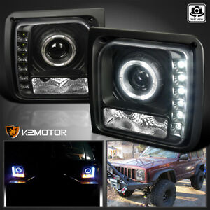 For 1997 2001 Jeep Cherokee Led Strip Black Projector Headlights Lamps 97 01