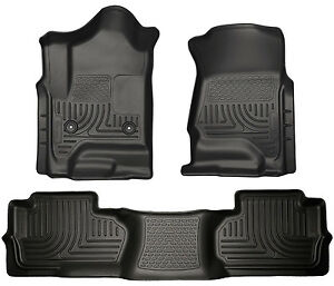 Husky Weatherbeater Front 2nd Row Floor Liners 2014 2018 Silverado Double Cab