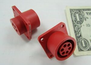 5 Tyco Amp Red 6 Position Lgh High Voltage Circular Connectors 449652 1 14s 6s