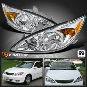 For 2002 2004 Toyota Camry Clear Diamond Headlights Head Lamps Left Right