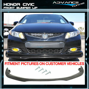 Fits 12 13 Honda Civic Coupe 2 Door Cs Style Front Bumper Lip Chin Spoiler