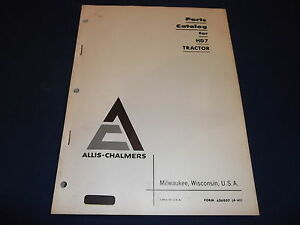 Allis Chalmers Hd7 Crawler Tractor Dozer Parts Manual Book Catalog