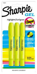 Sharpie Gel Stick Yellow Highlighters Won t Bleed Or Smear Ink Free Technology